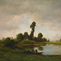 A River Landscape by Theodore Rousseau