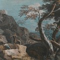 A Rocky Wooded Landscape With Three Peasants by Marco Ricci