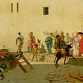 A Roman Street Scene With Musicians And A Performing Monkey by Modesto Faustini
