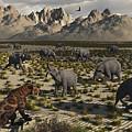 A Sabre-toothed Tiger Stalks A Herd by Mark Stevenson