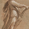 A Saint Holding A Book by Attributed To Gioacchino Assereto