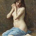 A Seated Nude With A Blue Drape by Alexandre Jacques Chantron