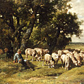 A Shepherd And His Flock by Charles Emile Jacques