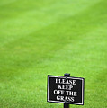 A Sign In The Lawn Reading Keep Off The Grass by Lee Avison
