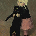 A Small Girl With A Cat by TA Steinlen