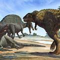A Spinosaurus Blocks The Path by Sergey Krasovskiy