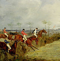 A Steeplechase - Taking A Hedge And Ditch  by Henry Thomas Alken