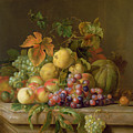 A Still Life Of Melons Grapes And Peaches On A Ledge by Jakob Bogdani