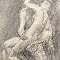 A Study Of Rodin's Kiss In His Studio by Gwen John