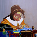 A Tribute To Vermeer  The Lacemaker by Rusty Woodward Gladdish