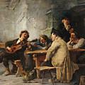 A Vagrant Ministrel In A Tavern by Friedrich von Keller