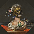 A Vanitas Bust Of A Lady With A Crown Of Flowers On A Ledge by Catharina Ykens