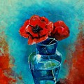 A Vase With Poppies  by Veronique Radelet