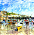 Porthleven - A View Across The Harbour by Mike Marsden