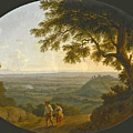 A View Across The Alban Hills With A Hilltop On The Right And The Sea In The Far Distance by Jacob Philipp Hackert