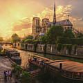 A View From Bridge Pont De L Archeveche, Archbishop Bridge, Infront Of Notre Dame De Paris Cathedr by Mohamed Kazzaz