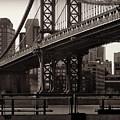 A View From The Bridge - Manhattan Bridge New York by Miriam Danar