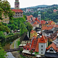 A View Of Cesky Krumlov And Castle In The Czech Republic by Richard Rosenshein