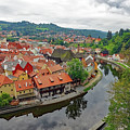 A View Of Cesky Krumlov And The Vltava River In The Czech Republic by Richard Rosenshein