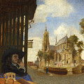 A View Of Delft With A Musical Instrument Seller's Stall by Carel Fabritius