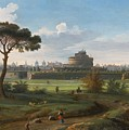 A View Of The Castel Sant'angelo by Gaspar van