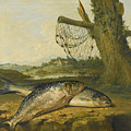 A View On The River Derwent At Belper Derbyshire With A Salmon And A Grayling On The Bank by George Morland