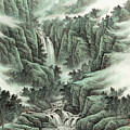 A Waterfall In The Mountains by Dong Xiyuan