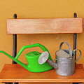 A Watering Can Of  Aluminium And A Plastic One Laid On Wooden Bench by Susanna Mattioda