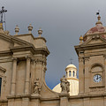 A Well Placed Ray Of Sunshine - Noto Cathedral Saint Nicholas Of Myra Against A Cloudy Sky by Georgia Mizuleva