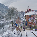 A Wintry Street Scene In Ironbridge Gorge England by Sarah Broadmeadow-Thomas