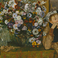 A Woman Seated Beside A Vase Of Flowers by Edgar Degas