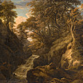 A Wooded Landscape With A Waterfall And A Fisherman Walking Along A Path by William Ashford