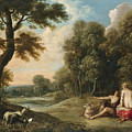 A Wooded Landscape With Venus Adonis And Cupid by Frans Wouters