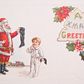 A Xmas Greetings With Santa And Child Vintage Card by R Muirhead Art