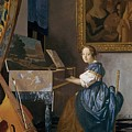 A Young Lady Seated At A Virginal by Jan Vermeer