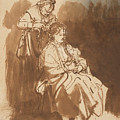 A Young Woman Having Her Hair Braided by Rembrandt