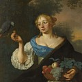 A Young Woman With A Parrot, Ary De Vois, 1660 - 1680 by Ary de Vois