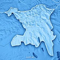 Aargau Canton Switzerland 3d Render Topographic Map Blue Border by Frank Ramspott