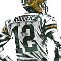 Aaron Rodgers Green Bay Packers Pixel Art 5 by Joe Hamilton