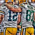 Aaron Rodgers Jordy Nelson Green Bay Packers Art by Joe Hamilton