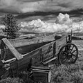 Abandoned Broken Down Frontier Wagon In Black And White by Randall Nyhof