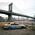 Abandoned Car And Manhattan Bridege by Neilson Abeel Jr