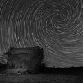 Abandoned House Spiral Star Trail Bw  by Michael Ver Sprill