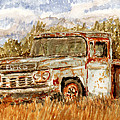 Abandoned Truck - Original Miniature Watercolor Painting by Barry Jones