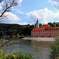 Abbey Weltenburg And Danube River by Christiane Schulze Art And Photography