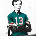 Abe Lincoln In A Dan Marino Miami Dolphins Jersey by Roly O
