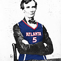 Abe Lincoln In A Josh Smith Atlanta Hawks Jersey by Roly O