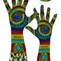 Aboriginal Hands Gold Transparent Background by Barbara St Jean