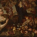 Abraham Brueghel After, Girl With Grapes And Still Life With Fruit. by Abraham Brueghel After