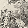 Abraham Kneeling Before The Three Angels by Joseph Wagner (publisher) After Jacopo Amigoni
